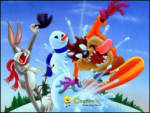 Kardan Adam - Tazmanya canavarı karda kayarken tavşanın kardan adamını yıkıyor