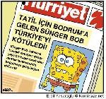 S�nger Bob Bodrum'da - S�nger Bob Mu�la/Bodrum da g�r�nd� karikat�r�
